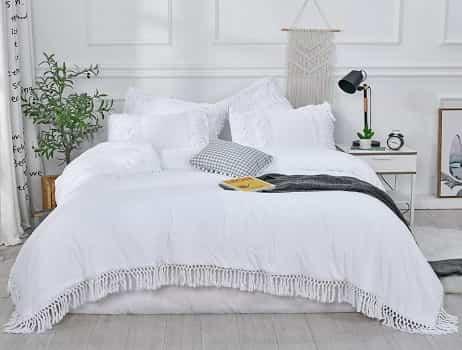Sexy Town- White Ruffle Tassel Comforter Set