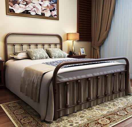 URODECOR Metal Bed Frame Full Size Headboard and Footboard with Mattress Foundation